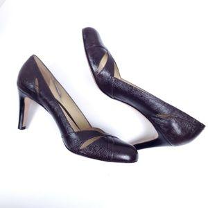 ANN TAYLOR Brown Slit Brazilian Leather Heels 8.5